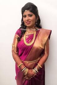 supritha looks gorgeous yet simple for her reception makeup and hairstyle by s studio