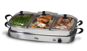 elite 3 station 2 5 qt stainless steel electric warming tray large