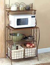 Rustic Kitchen Storage - kitchen storage bakers rack metal rack 2 basket shelves rustic