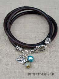 leather bracelet wrap make images Leather wrap charm bracelet happy hour projects jpg