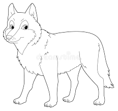 cartoon animal wolf isolated coloring page stock