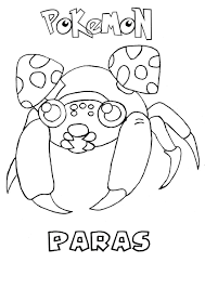 paras pokemon coloring page