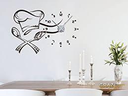 stickers pour cuisine sticker mural décoration avec horloge pour la cuisine toque
