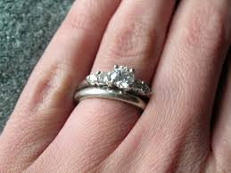 engagement and wedding rings rings on