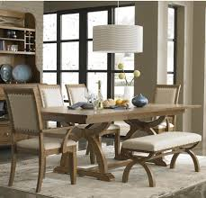 Long Narrow Dining Room Table by Linen Upholstered Long Narrow Bench On Vintage Painted Legs With
