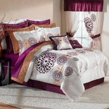 Grey Silk Comforter White And Purple Silk Twin Bedspread And Curtain Set With Brown