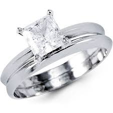 princess cut wedding set 1 5ct 14k white gold princess cut solitaire cz wedding ring set