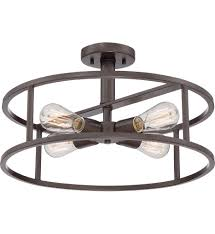 Quoizel Flush Mount Ceiling Light Quoizel Nhr1718wt New Harbor Western Bronze Semi Flush Mount