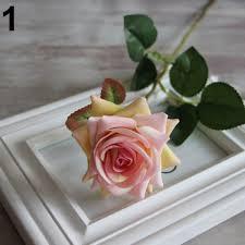 rose fake silk flowers leaf artificial home wedding decor bridal