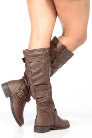 brown biker boots brown faux leather knee high strappy biker boots cicihot boots