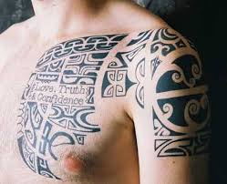 polynesian tattoo on chest and shoulder tattoo designs tattoo