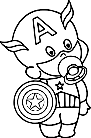 baby captain america coloring wecoloringpage