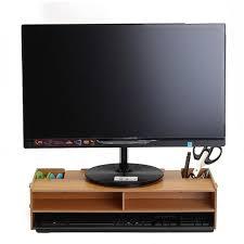 support ecran pc pour bureau nouveau moniteur de bureau stand ordinateur écran riser bois plateau