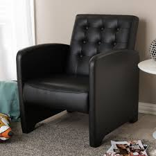 Burgundy Accent Chair Baxton Studio Jazz Contemporary Black Faux Leather Upholstered