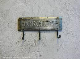 porte torchon cuisine mural accroche torchons zinc déco brocante antic line dec7615