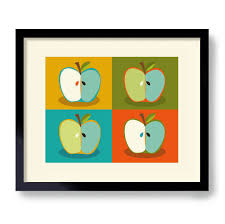 Apple Kitchen Decor by Mid Century Modern Wall Art Apple Art Kitchen Art Print Apple