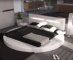 Schlafzimmer Bett Mit Led Polsterbett Arrondi Weiss 180x200 Bett Rund Mit 2 Nachtkonsolen