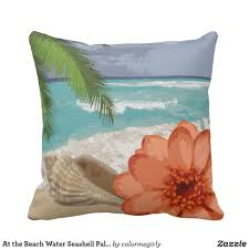 home at the beach decor at the beach water seashell palm tree flower throw pillow trees