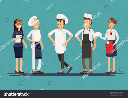 lineup group restaurant staff characters trendy stock vector