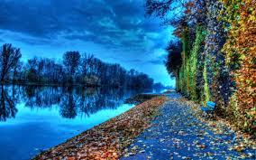riverside bench during autumn nature hd wallpaper 1920x1200 7229
