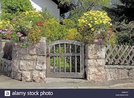 garden door stone defensive wall floral decoration germany
