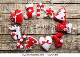 group hanging christmas decorations scandinavian style stock