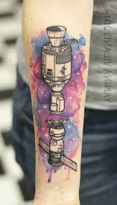 watercolor spaceship tattoo