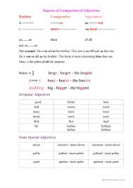 14 free esl degrees of adjectives worksheets