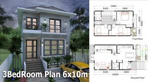 small home designs floor plans sketchup small home design plan 6x10m with 3 bedrooms youtube