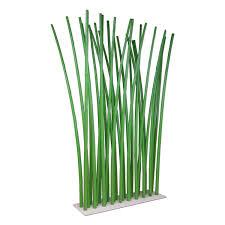 bamboo room divider on white steel base plate 100 x 180 cm