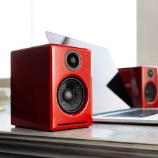 minimalist computer speakers amazon com audioengine a2 powered desktop speakers red