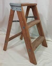 vtg folding wood 3 step stool stepladder ladder what u0027s it worth