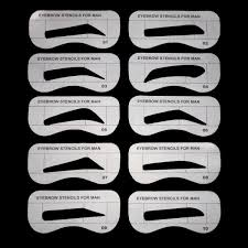 1set men eyebrow drawing card template brow makeup stencil