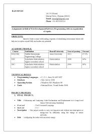 Sample Resume Format For Fresh by Sample Resume For Computer Science Student Fresher Gallery