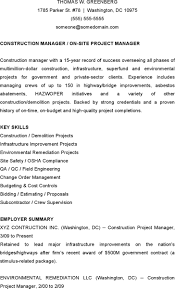 Demolition Resume Sample by Project Manager Resume Template Download Free U0026 Premium