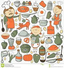 kitchen vector set cartoon colorful elements stock vector