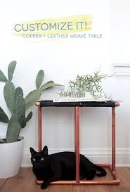 Copper Side Table Customize It Copper Leather Weave Table Emily Henderson