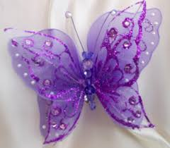 purple chair sashes clip on large butterfly 7 18cm weddings chair sash purple pink