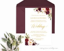 vista print wedding invitation burgundy floral gold foil wedding invitation template