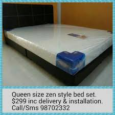 Bed Frame And Mattress Deals Singapore Queen Size Zen Style Contemporary Bed Frame With Mattress 299