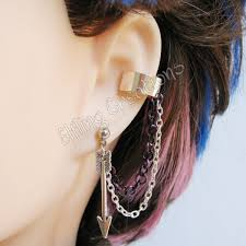 earrings with chain ear cartilage silver and purple arrow cartilage chain ear cuff by merigreenleaf