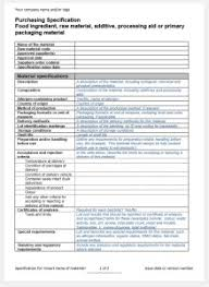 raw material specification template
