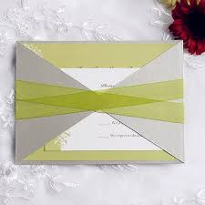wedding invitations with ribbon moon green wedding invitation with ribbon and gray pocket ewpi103