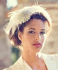 birdcage veil feather fascinator bridal hair accessory head