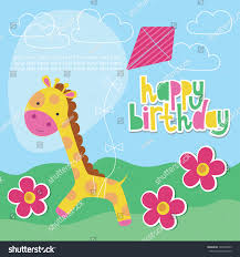 happy birthday card design cute giraffe stock vector 124406953