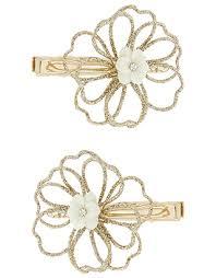 monsoon hair accessories monsoon 2x heart glitter flower hair gold one size