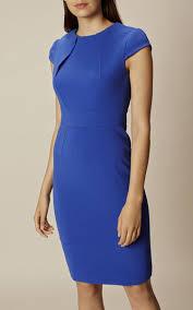 karen millen da303 high neck pencil dress karen millen blue dress