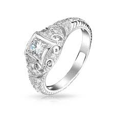 deco engagement ring 925 silver deco solitaire cz engagement ring vintage milgrain