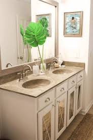 white wooden bathroom counter with gray marble top brown wooden