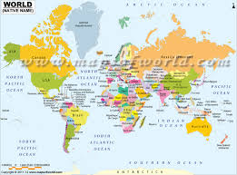world map with country name and capital and currency map showing country names in their language